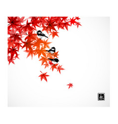 three little birds on red leaves japanese maple vector image