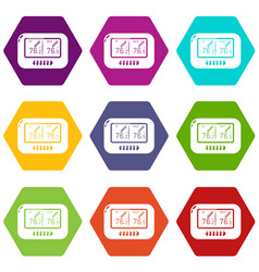 Tonometer icons set 9 vector
