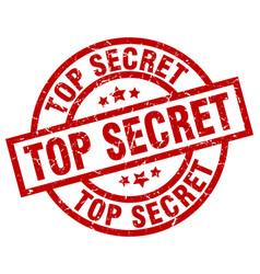 Top secret round red grunge stamp vector