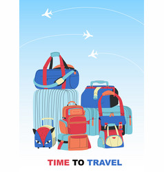 Travel bags background vector