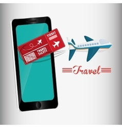 travel ticket smartphone airplane design vector image