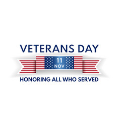 Veterans day banner with ribbon and us flag vector