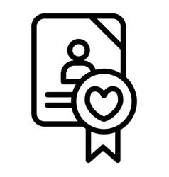 Wedding document line icon newlyweds form vector