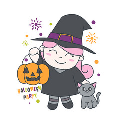 witch bring pumpkin with cat cute vector image