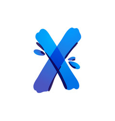 X letter eco logo with blue water drops vector