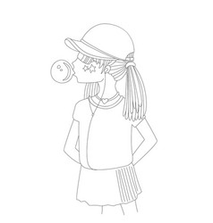 Young teen girl in a baseball cap with headphones vector