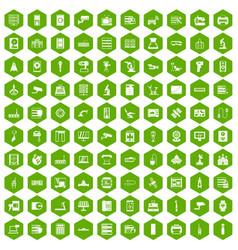 100 hardware icons hexagon green vector