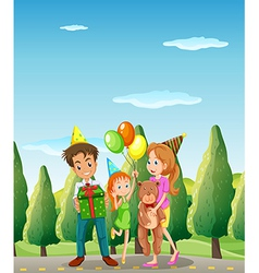 A family at the street vector image vector image