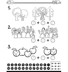calculating maths activity coloring page vector image vector image