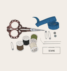 color set of objects for sewing sketch tool vector image vector image