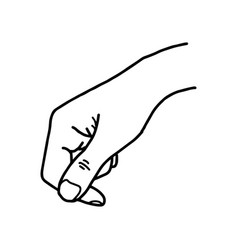 hand holding blank space - sketch vector image