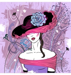 Lady in hat with flower - vector image