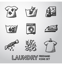 Set of freehand Laundry icons with - clean and vector image vector image