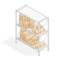 Storage shelves with cardboard boxes vector image vector image