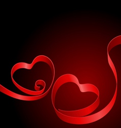 two red hearts from ribbon vector image