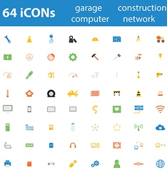 64icon garage construction computer network vector image vector image