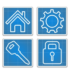 Blueprint Icons vector image vector image