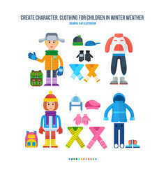boy and girl in winter clothing in cold weather vector image vector image