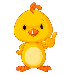 Cute yellow baby chicken vector