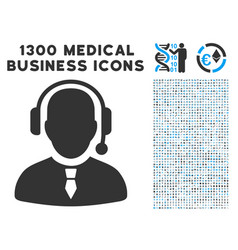 Dispatcher icon with 1300 medical business icons vector
