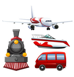 four types of transportations vector image vector image