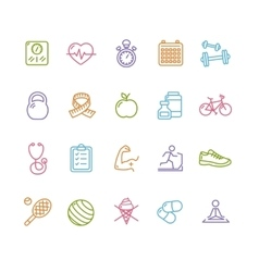 Fytness Health Colorful Outline Icon Set vector image vector image
