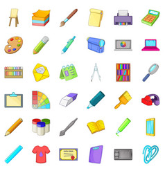 graphic icons set cartoon style vector image vector image