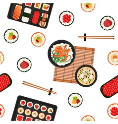 Japanese Food Sea Food Sushi Background Seamless vector image vector image