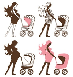 Pregnant woman with Strollers vector image vector image