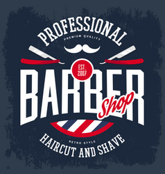 razor and mustache on barbershop logo or sign vector image vector image