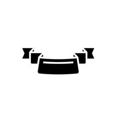 ribbon 3 corners icon black vector image vector image