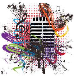 vintage microphone grunge vector image vector image