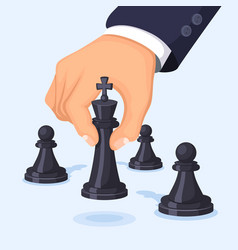 business concept hand moving chess vector image