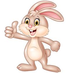 Cartoon bunny giving thumb up vector image vector image