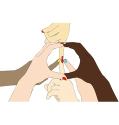 Hands united in the peace vector