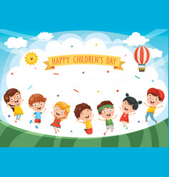 happy kids playing vector image