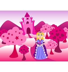 Princess and pink castle landscape vector image vector image
