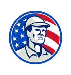 American Worker Stars and Stripes Flag Retro vector image