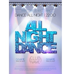 Disco background All night dance poster vector image vector image