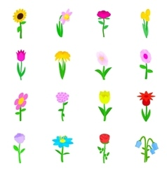 Flower icons set isometric 3d style vector image