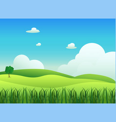meadow landscape with grass foreground vector image
