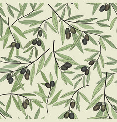 olive berry seamless pattern olive branch floral vector image vector image