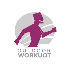outdoor workout logo design of silhouette running vector image vector image