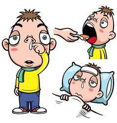 Sick boy cartoon vector image