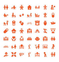49 family icons vector image