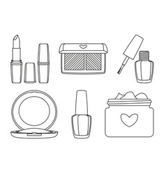 6 black and white line art make up elements vector image