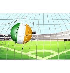 A ball with the Ireland Flag hitting a goal vector