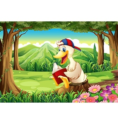 A duck at the forest reading vector