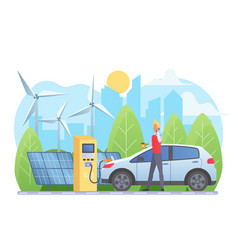 Alternative energy sources flat vector