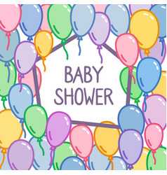 baby shower sign on colorful balloon background vector image